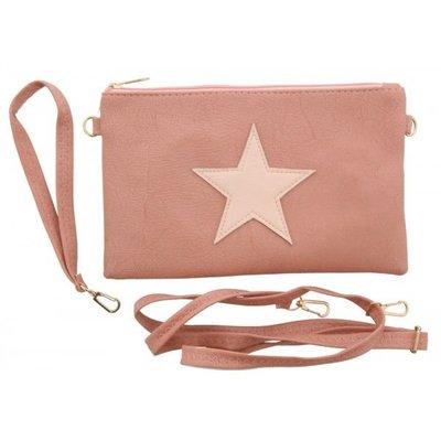 Trendy schouder tasje met ster voor dames en meisjes roze