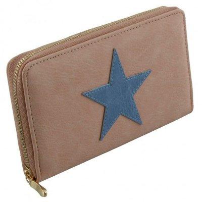 Trendy dames portemonnee roze met donkerblauwe ster