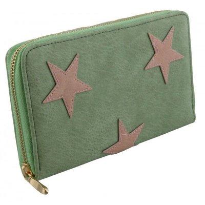 Trendy dames portemonnee groen met roze sterren