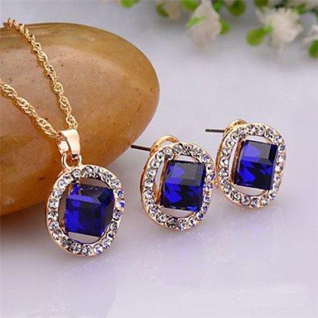 Sieraden set oorbellen ketting,hanger rond met vierkant blauwe kristalen
