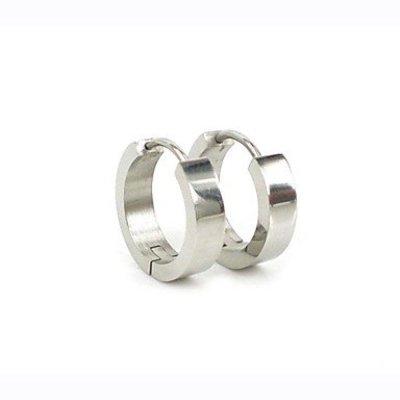 Oorbellen ring titanium staal zilver kleur