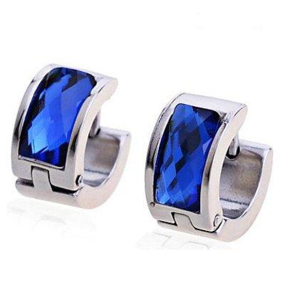 Oorbellen ring titanium staal zilver kleur blauwe imitatie diamant