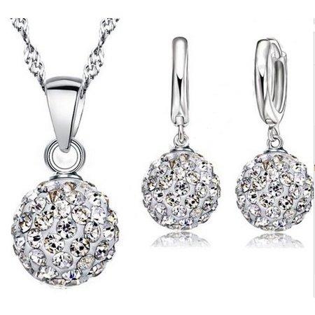 Sieraden set zilver oorbellen discobal witte kristallen ketting