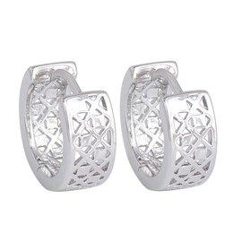 Oorbellen ring motief zilver kleur