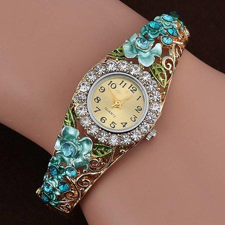 Fancy meisjes dames horloges goud kleur met roze bloemen kristalen