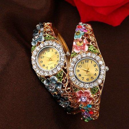 Fancy meisjes dames horloges goud kleur met rode bloemen kristalen