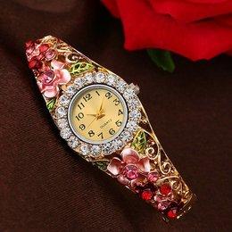 Fancy meisjes dames horloges gouden rode kleur met kristalen