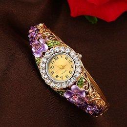 Fancy meisjes dames horloges gouden paarse kleur met kristalen