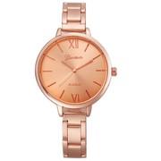 Trendy dames horloge met grote ronde scherm rosé gold kleur
