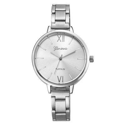 Trendy dames horloge met grote ronde scherm zilver kleur