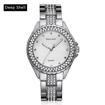 Trendy dames horloge ronde scherm zilver kleur versierd met kristalen
