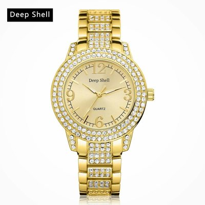 Quartz dames horloge met ronde scherm goud kleur kristalen diamant