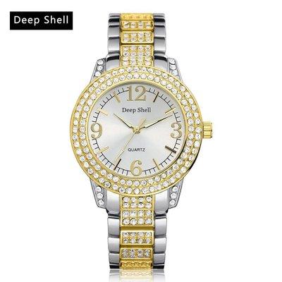 Dames horloge met ronde scherm zilver met goud kleur kristalen diamant