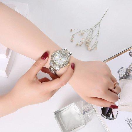 Trendy dames horloge metalen riem zilver kleur kristal diamant