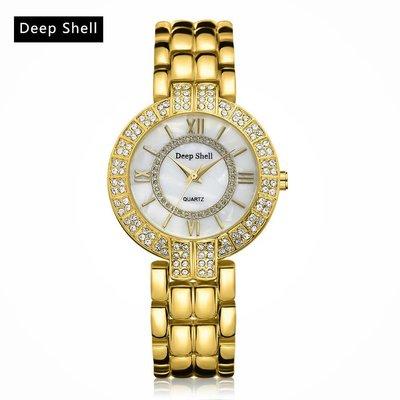 Trendy polshorloges met goud kleur met diamant kristalen