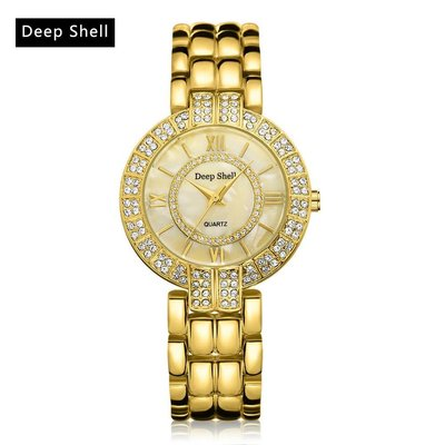 Trendy polshorloges goud kleur met diamant kristalen