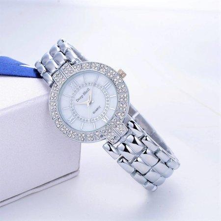 Dames horloge zilver kleur met kristalen rijen witte scherm