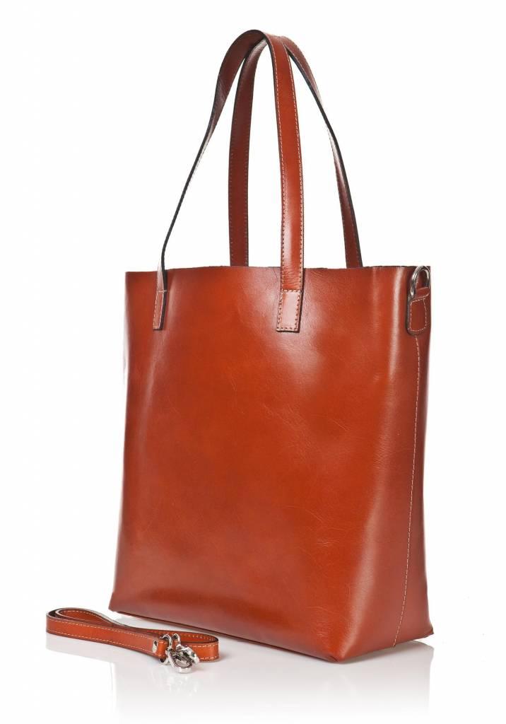 Damestas Bruin : Elegant citybag handtas schoudertas klassieke model in