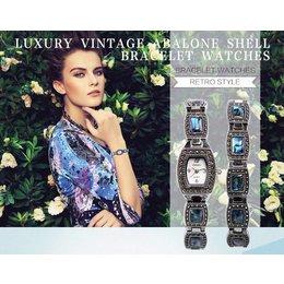 Retro style luxe armband horloge met blauw Turquoise