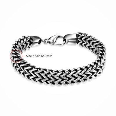 Stoere trendy zilver metalen heren armband