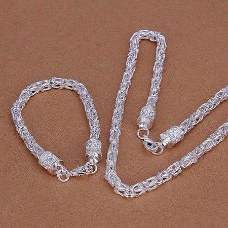 Armband met ketting in een set sterling zilver met rond motief kristalen