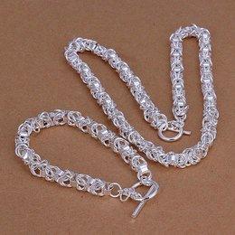 Armband met ketting in een set sterling zilver met ringen