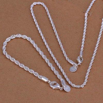 Armband met ketting sterling zilver getordeerd draad sieraden set
