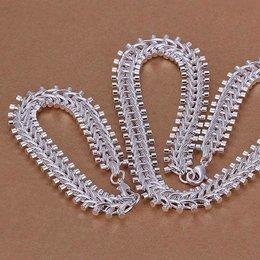 Armband met ketting 925 sterling zilver met visgraat motief