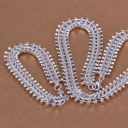 Armband met ketting set sterling zilver met visgraat model dames en heren