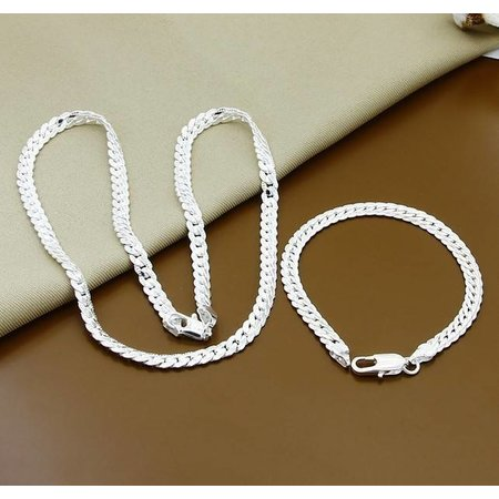 Armband met ketting in een set 925 sterling zilver met ronde motief