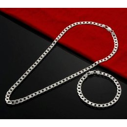 Armband met ketting in een set sterling zilver voor heren