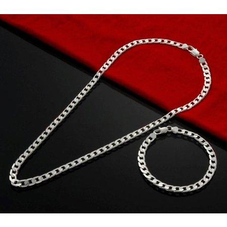 Armband met ketting in een set 925 sterling zilver met geometrische motief