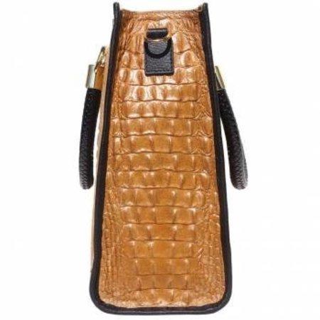 Elegante crocoprint kalf leder handtas dames in cognac met zwart