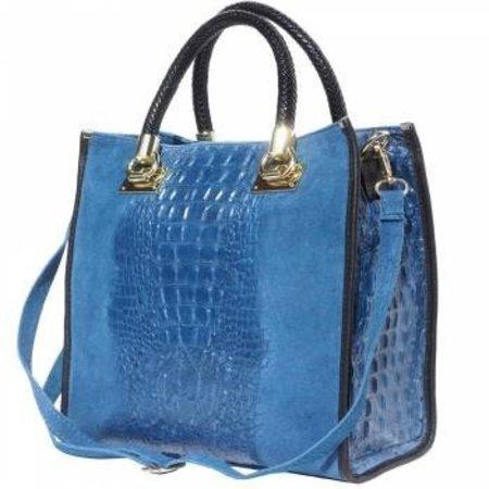 Elegante crocoprint kalf leder handtas dames in blauw met zwart
