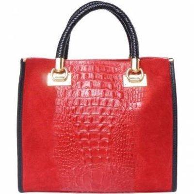 Elegante crocoprint kalf leder handtas in rood met zwart
