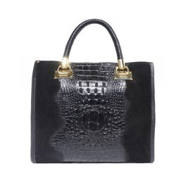 Elegante crocoprint kalf leder handtas in zwarte kleur