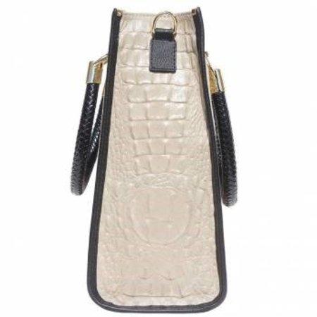 Populair Elegante trendy Tote bag licht taupe met zwarte kleur kalfsleer  RS16