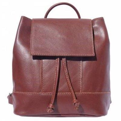 Mooie zachte Leder rugzak Carolina bruin kleur