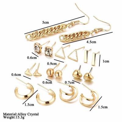Trendy oorbellen set in goud kleur met kristalen