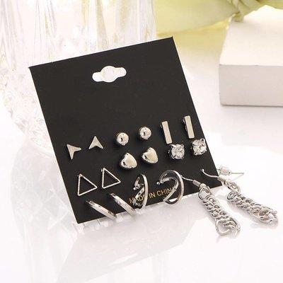 Trendy oorbellen set in zilver kleur met kristalen