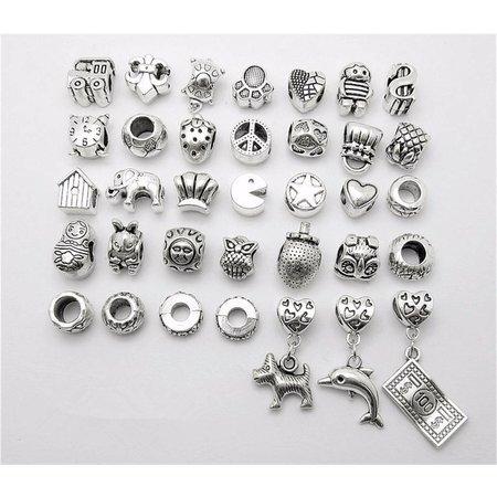 Pandora sieraden armbanden of hangers antiek zilver kleur 35 stuks