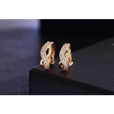 Goud kleur plakkaat kristallen oorbellen met infinity teken