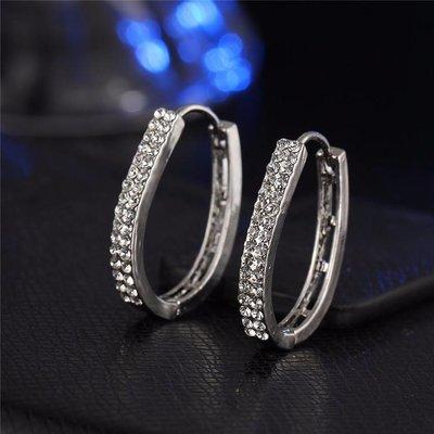 Zilver kleur versierd met 2 rij kristallen oorbellen