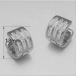 Oorringen Zilver kleur versierd met 3 rij kristallen RVS