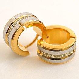 Oorringen goud kleur met zilver glans met matte kleur RVS
