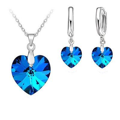 Oorbellen ketting sieraden set 925 S.Zilver blauwe Ocean hart