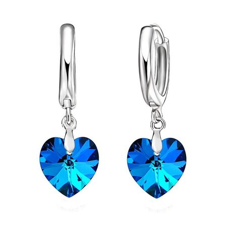 Oorbellen met ketting sieraden set 925 S.Zilver blauw kristal Ocean hart