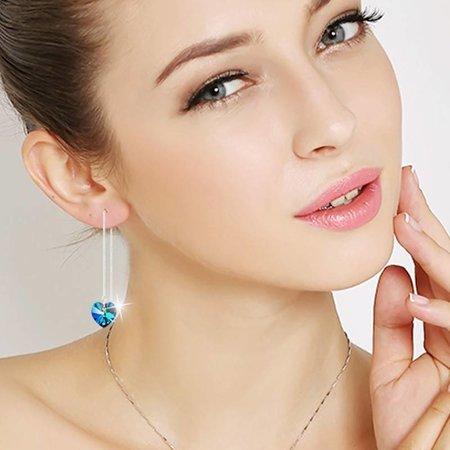 Sterling zilver oorbellen met blauwe hart druppel draad oorbellen