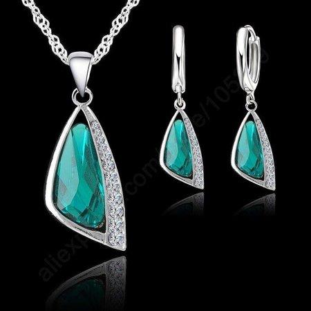 Oorbellen met ketting sieraden set 925 S.Zilver met groene kristalen