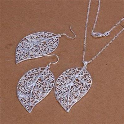 Oorbellen ketting sieraden set 925 S.Zilver met zilver blader